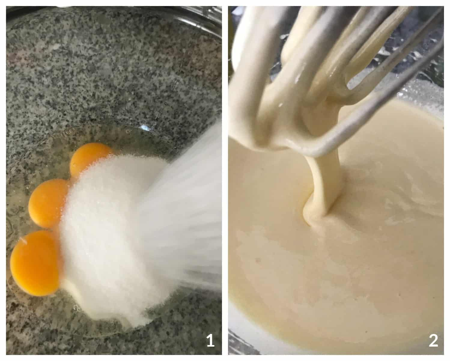 Image Collage; adding sugar to eggs in glass bowl, beaten mixture