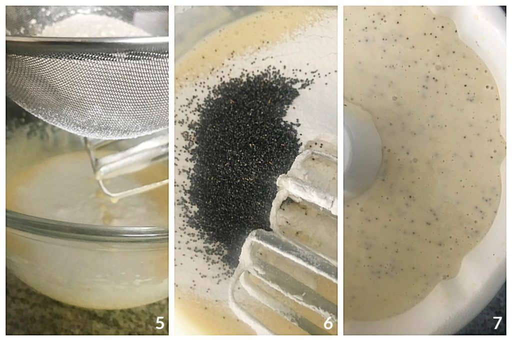 Three image collage: sifting flour onto cake batter, adding poppy seeds, batter in cake pan