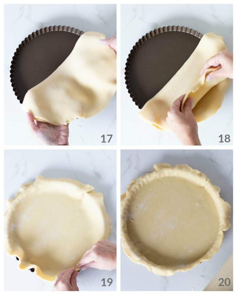 Hands lining pie pan with sweet dough; step by step image collage
