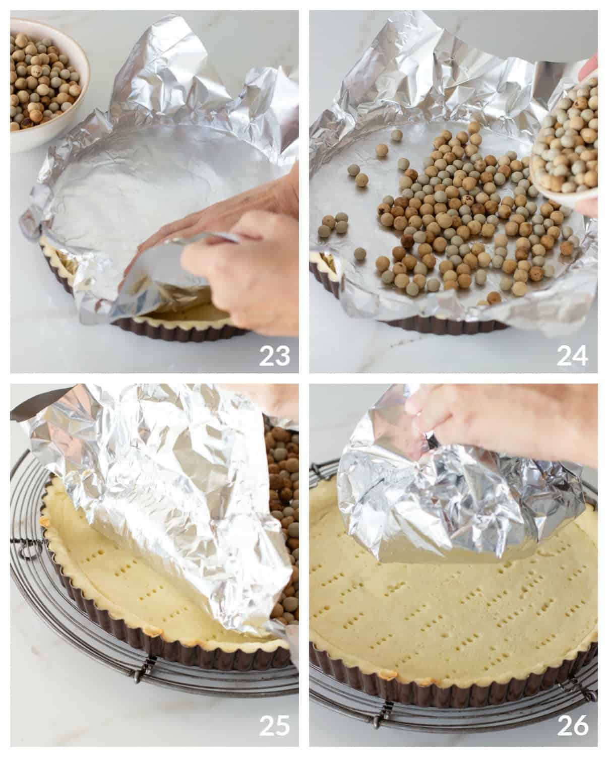 Blind baking image collage; aluminum foil with pie weights, baked tart on wire rack