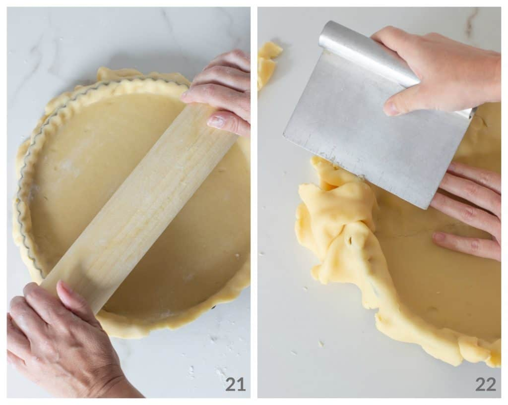 Hands rolling pin over unbaked pie dough; using scraper to remove excess dough