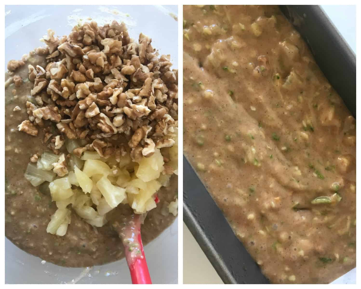 Image Process Collage. Adding walnuts and pineapple to batter; unbaked batter in pan