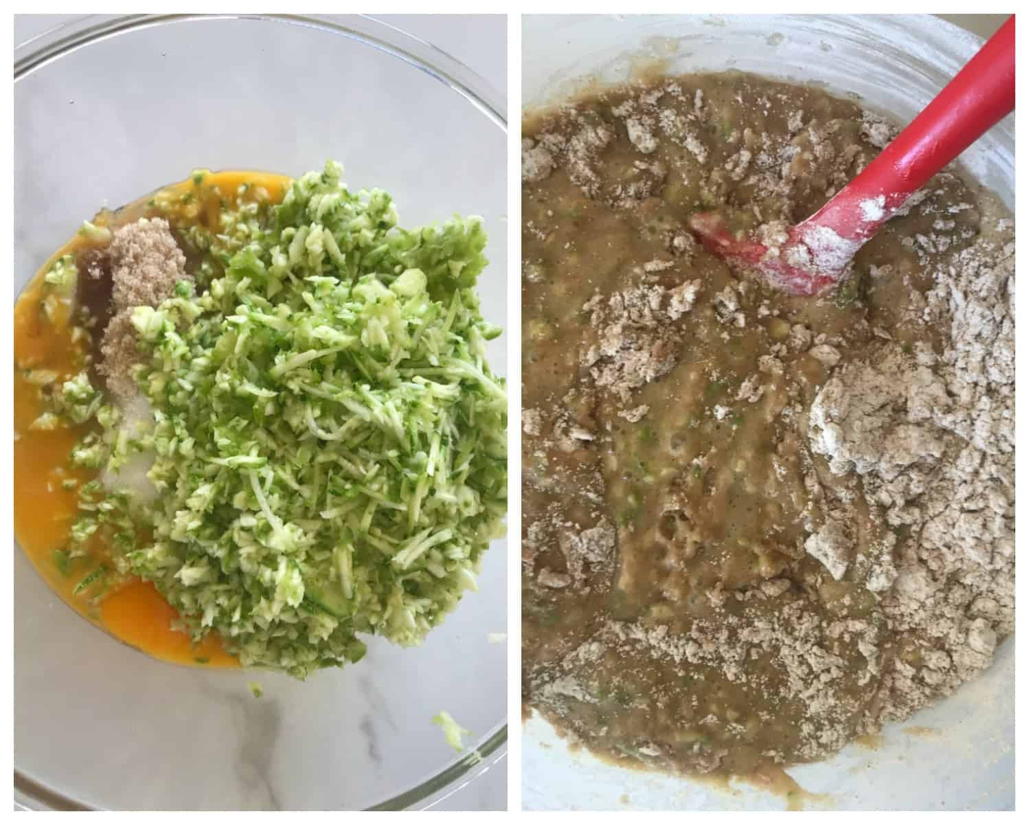 Collage of bowls with eggs and zucchini, and batter with flour spots, red spatula