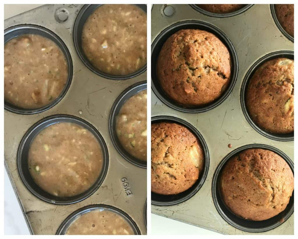 Unbaked and baked Zucchini Pineapple Muffins image Collage