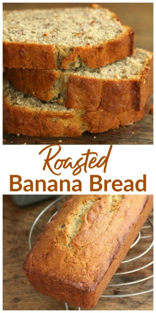 roasted banana bread long pin with text