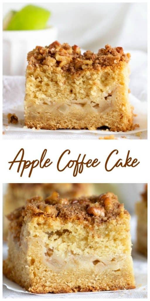Slices of apple coffee cake in a collage with text