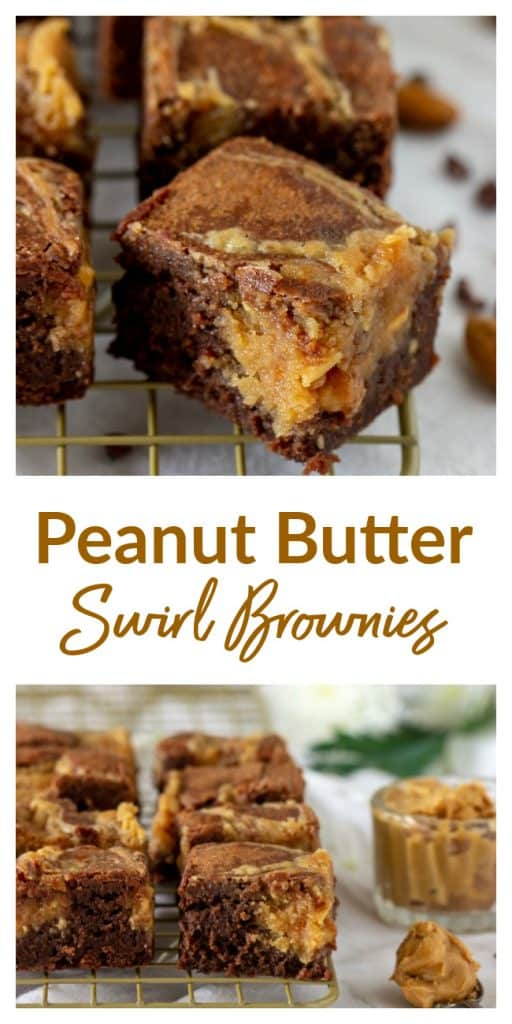Peanut butter swirl brownies long pin with text