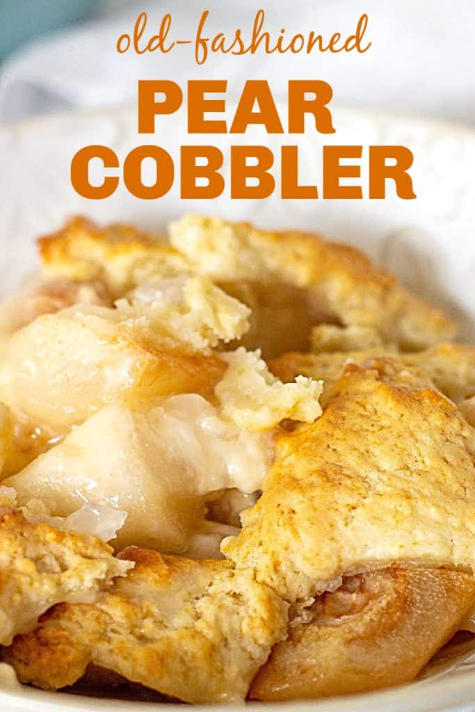Close up of pear cobbler serving; orange white text overlay