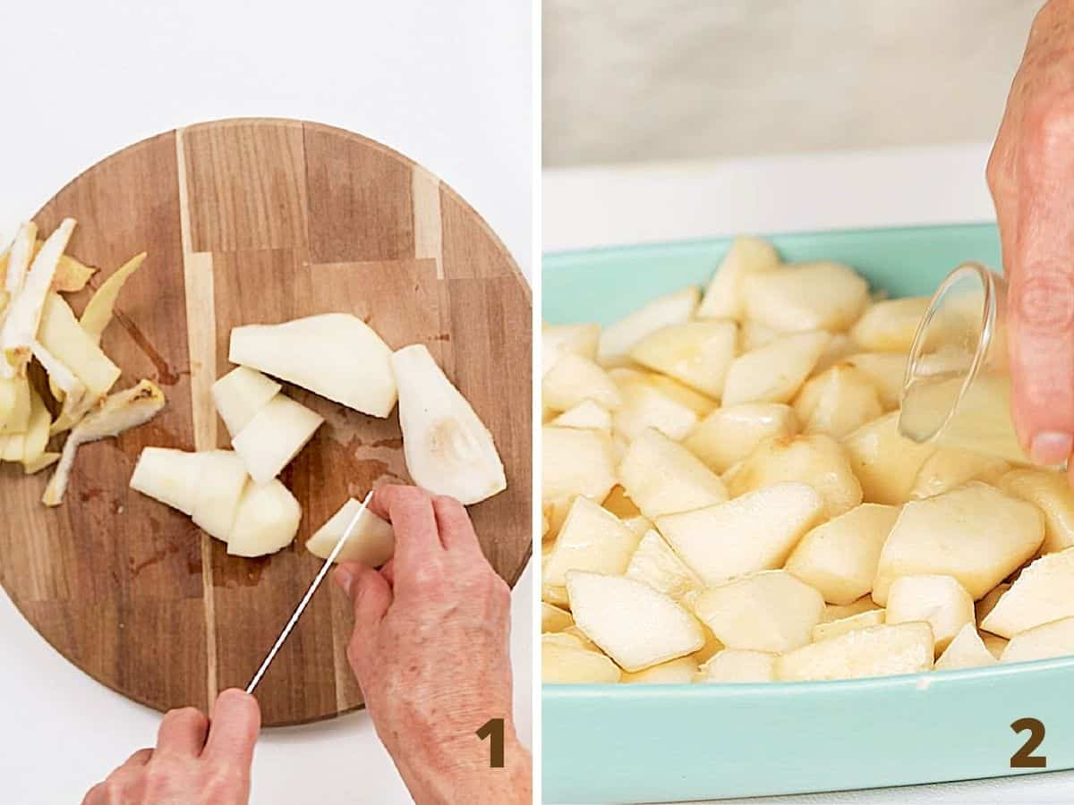 Collage showing hands cutting pears in wooden board and adding juice to pears in dish