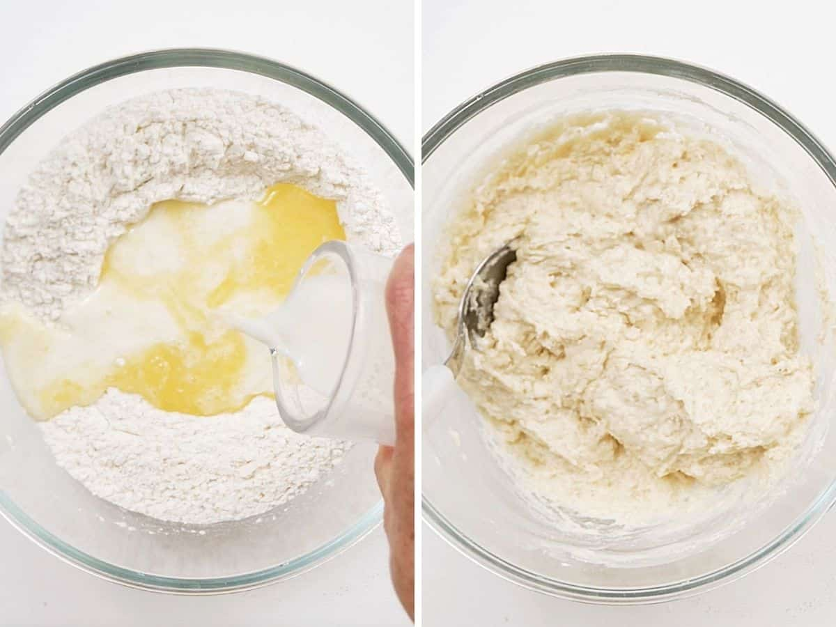 Two image collage adding dry ingredients, butter, milk to glass bowl, and after mixing it