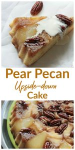 Pear upside-down Cake long pin with text