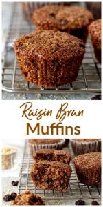 Raisin Bran Muffins long pin with text