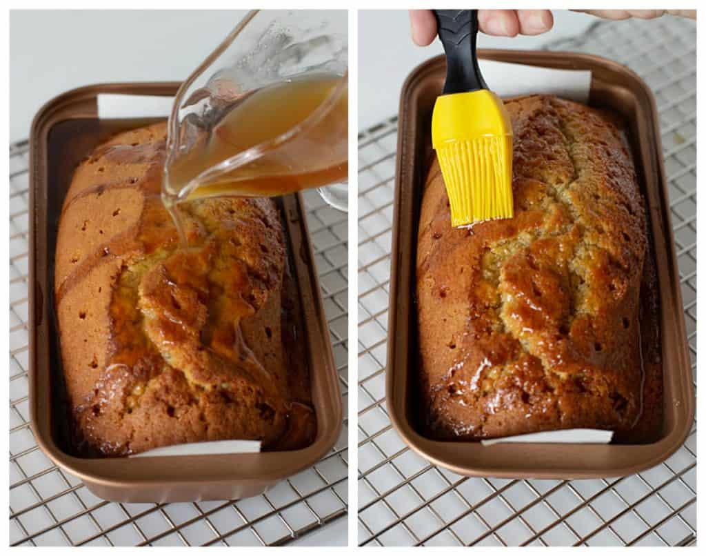 Adding syrup to loaf cake in pan, on a wire rack