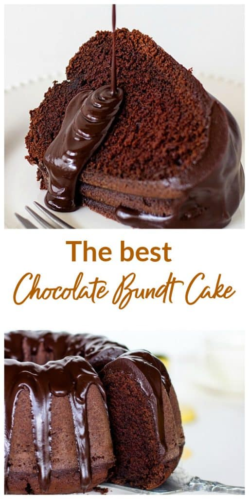 Glazed Chocolate bundt cake image collage with text