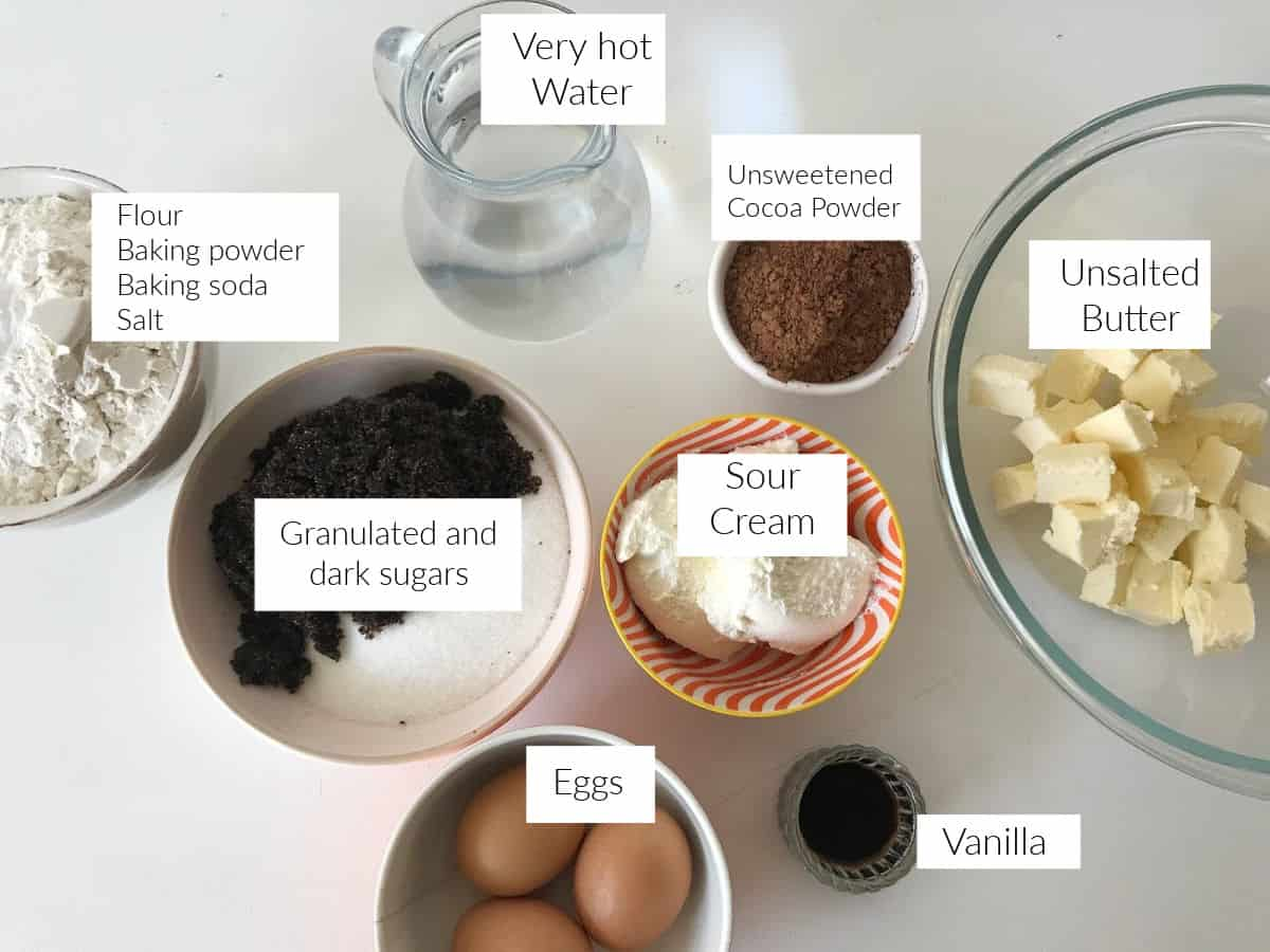 Chocolate Bundt Cake ingredients.in colored bowls on white table
