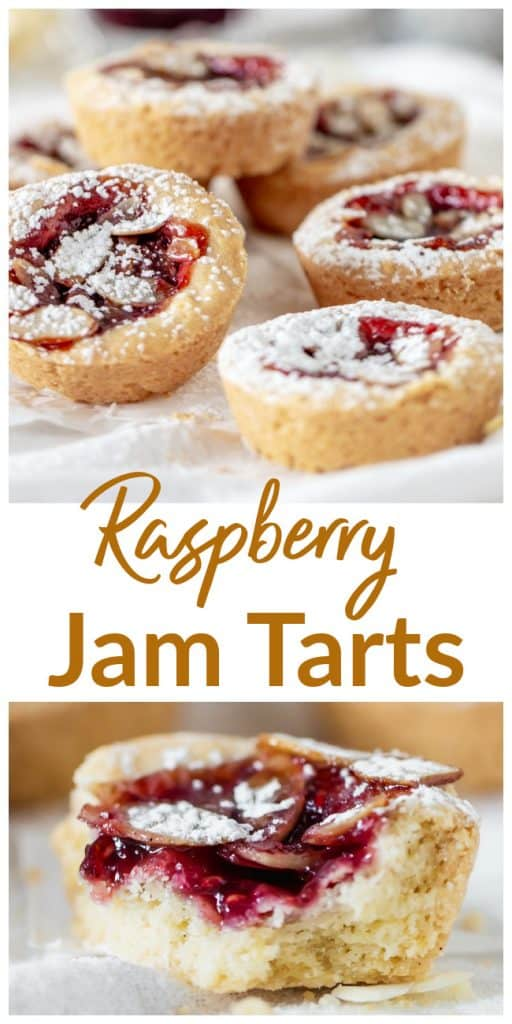 Stacks of jam tarts, bitten tart, long pin with text