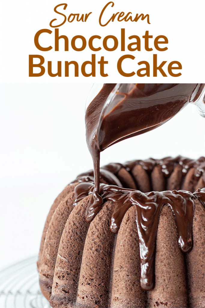 Sour Cream Chocolate Bundt Cake Pin with text