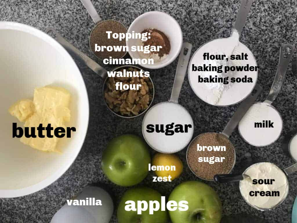 Apple Coffee Cake Ingredients in containers on a grey surface