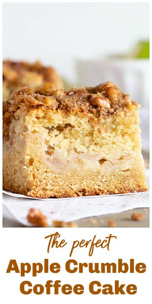 apple coffee cake slice, long pin with text