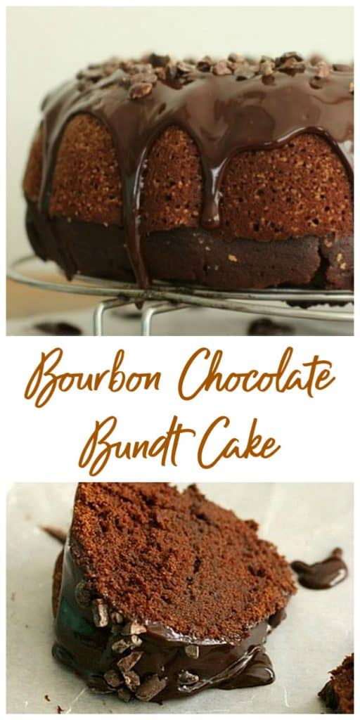Glazed Bourbon Chocolate Cake long pin with text