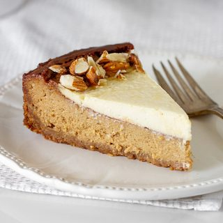 Slice of Brown Sugar Cheesecake on white plate