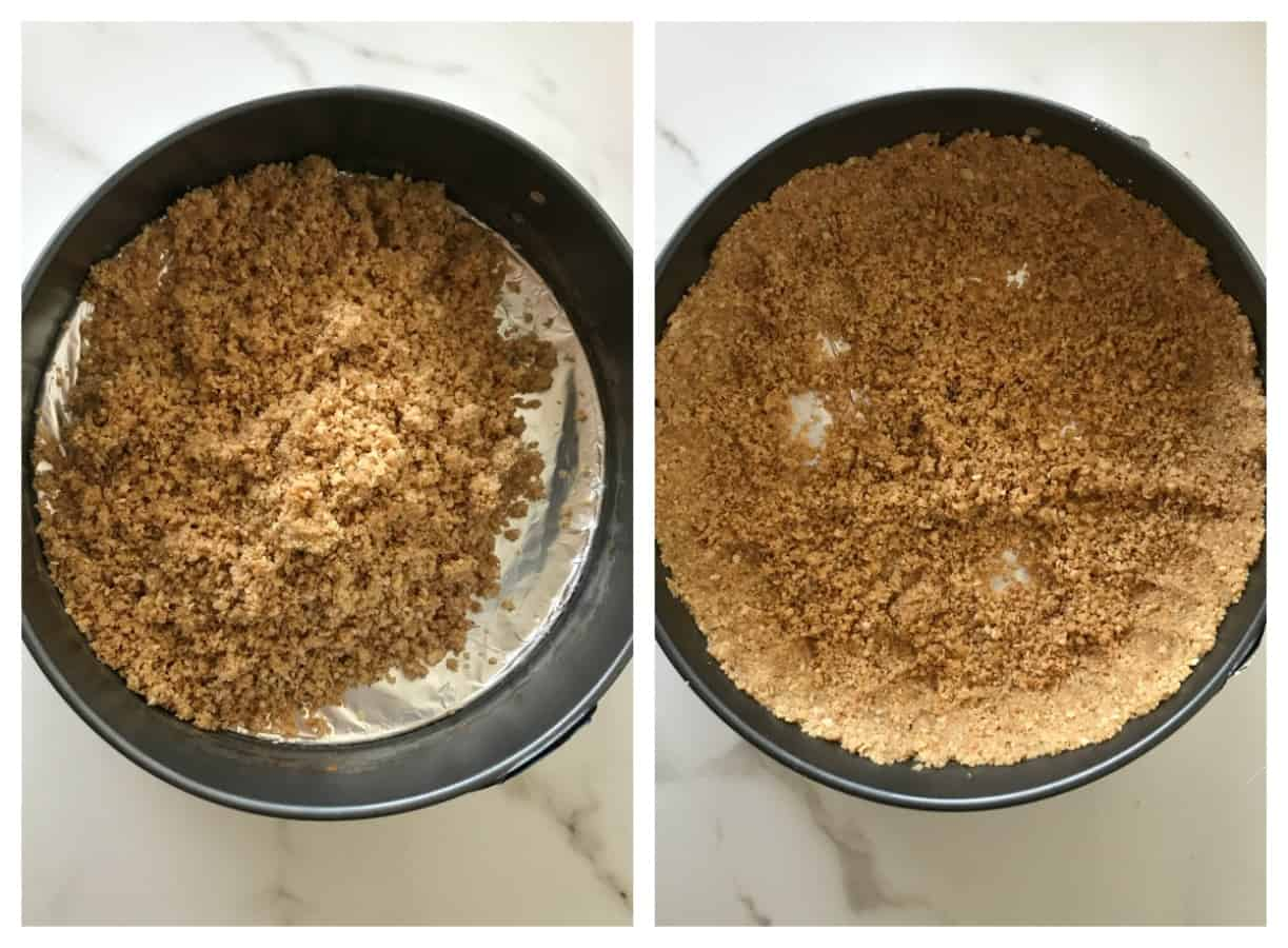 Image collage: pressing cookie mixture in cake pan to make cheesecake base
