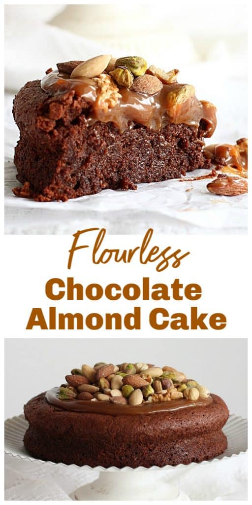 Slice and whole flourless chocolate cake topped with nuts, long pin with text