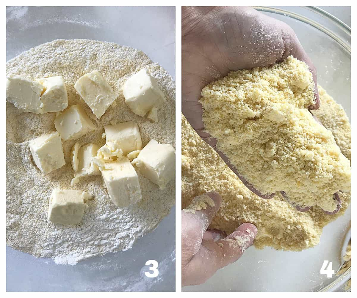 Two image collage of glass bowl with flour and butter, and hand showing sandy mixture