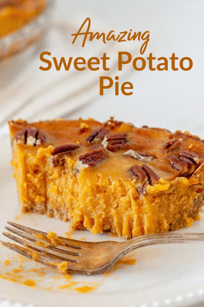 Eaten slice of sweet potato pie, long pin with text