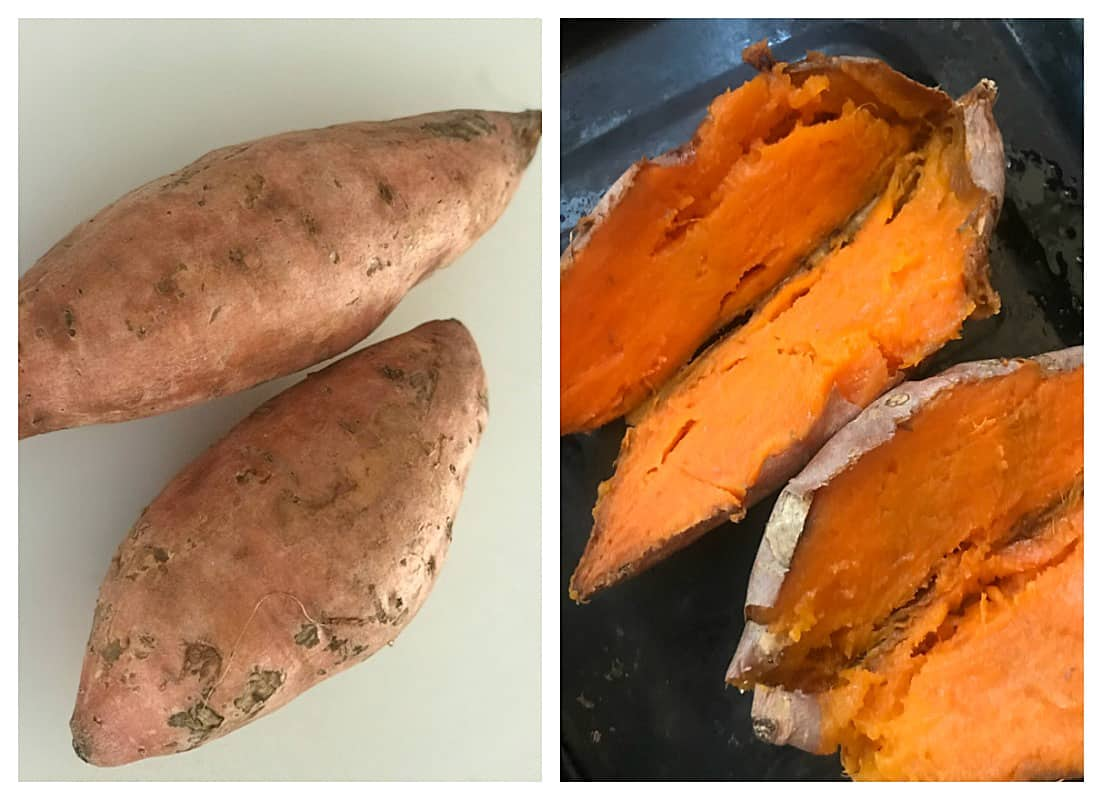Sweet potatoes, raw and baked, image collage