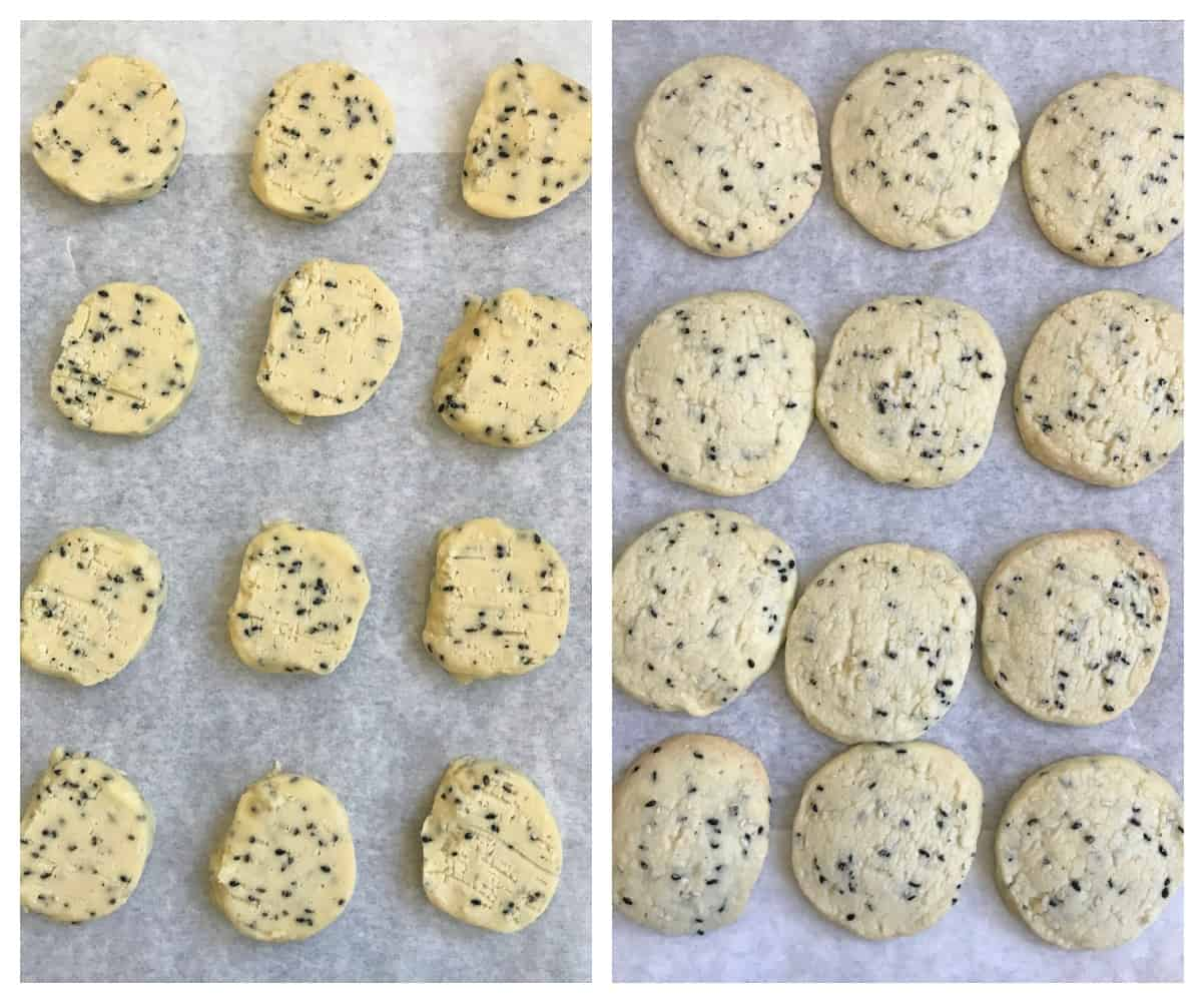 Raw and baked sesame cookies on parchment paper, process collage