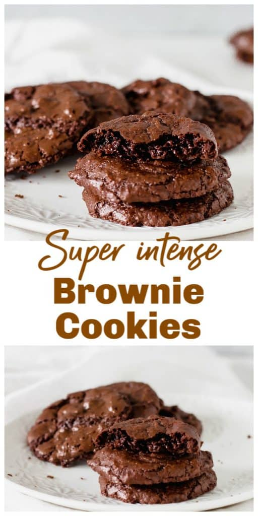 Brownie cookies on white background, long pin with text