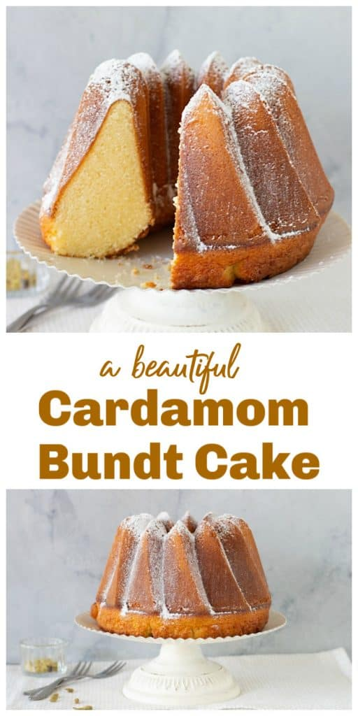 Bundt cake on white cake stand, long pin with text