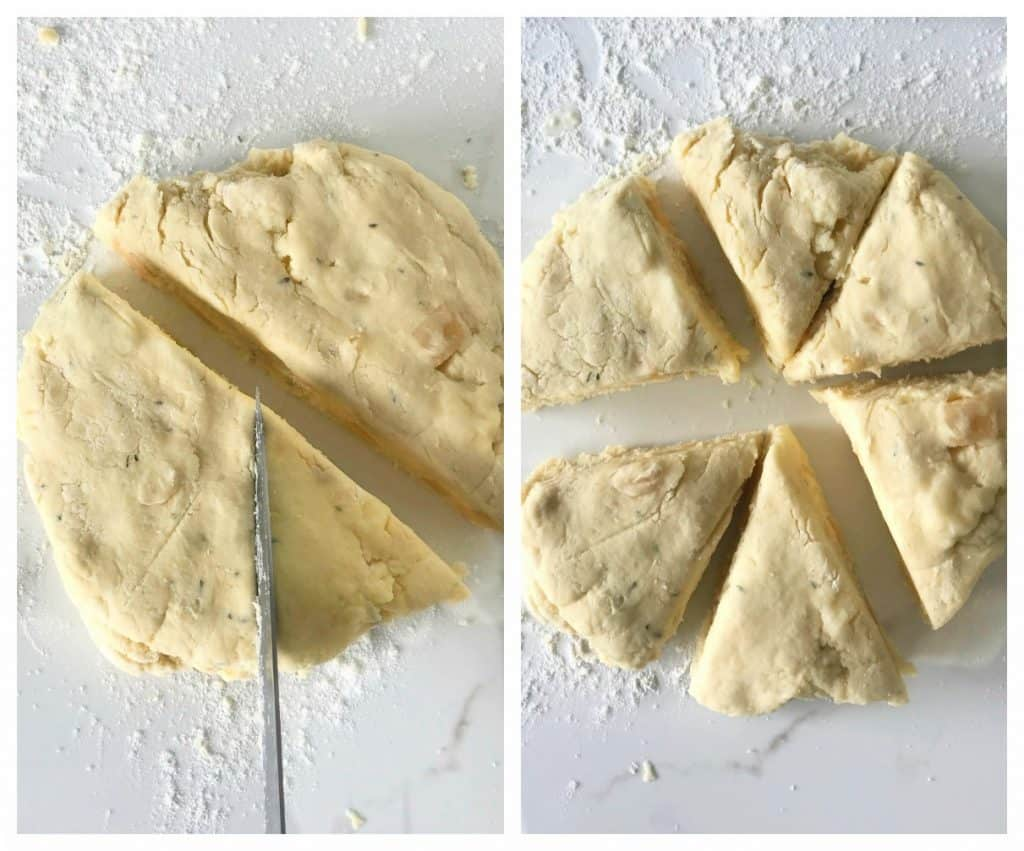 Cutting scone dough into triangles