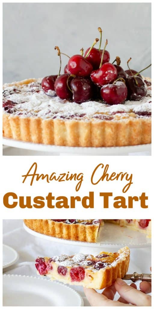 Cherry custard Tart long Pin with text