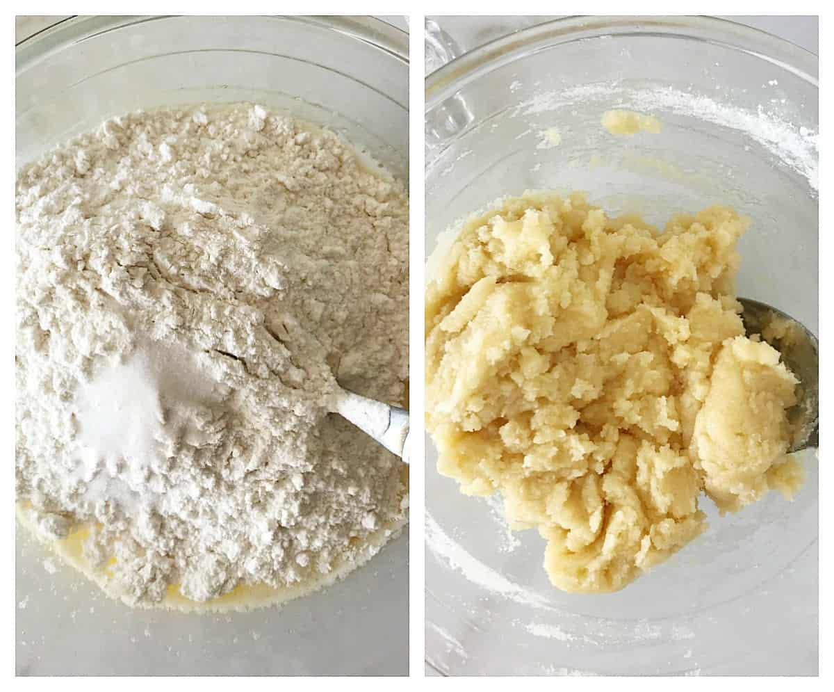Two image collage showing mound of dry ingredients and integrated pie dough