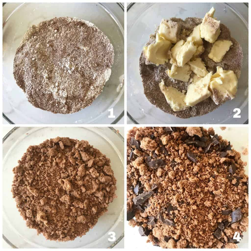 chocolate crumble process collage