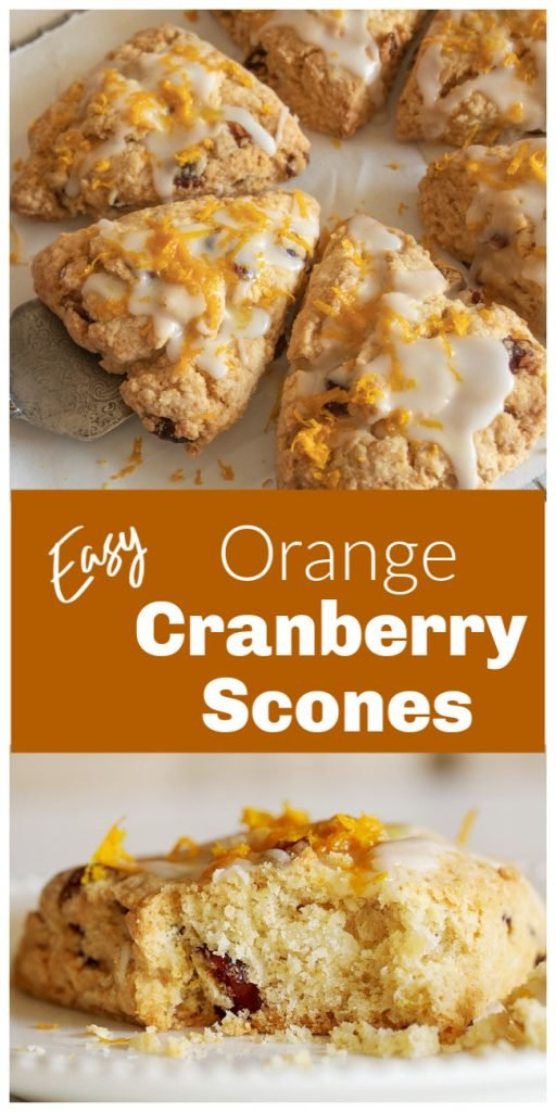 Triangular cranberry orange scones, long pin with text