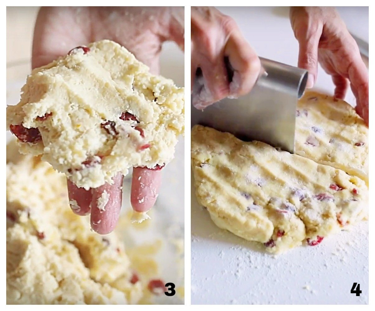 Forming and cutting cranberry scones, process collage