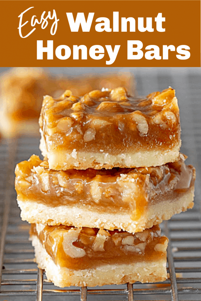 Stack of honey walnut bars on wire rack, long pin with text