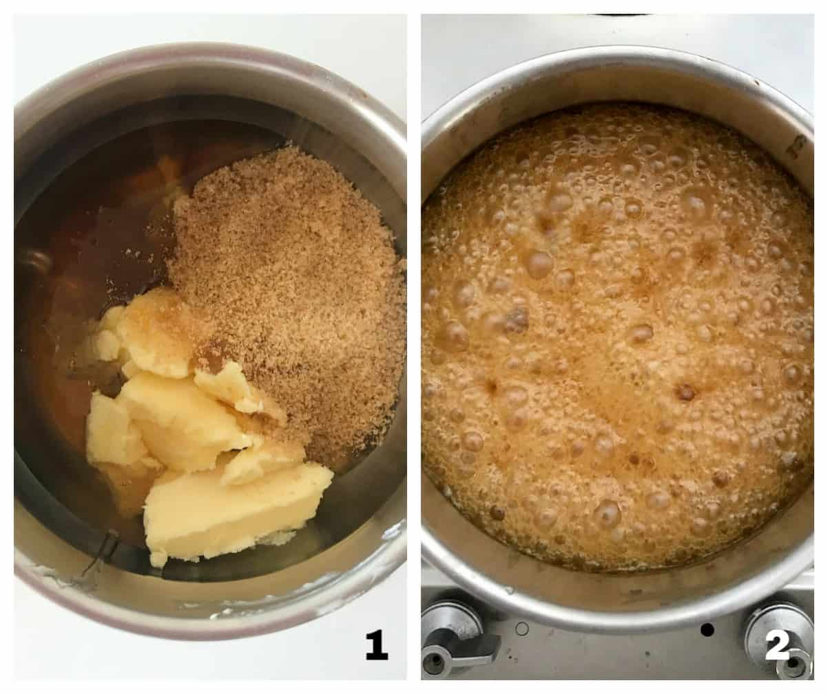 Saucepans with honey and butter mixture, ingredients and fully boiling