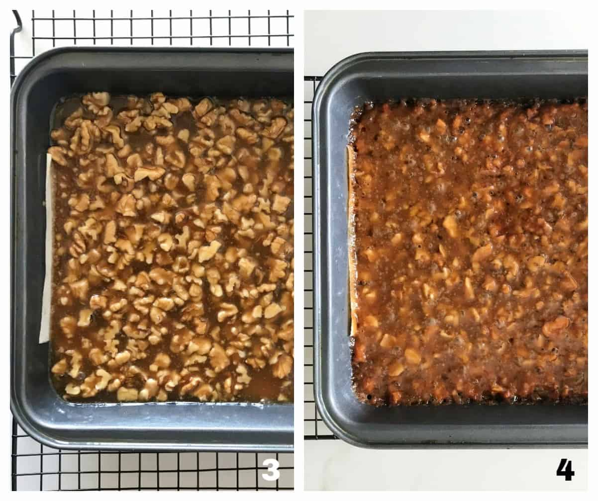 Square Metal pans with unbaked and baked walnut bars, collage