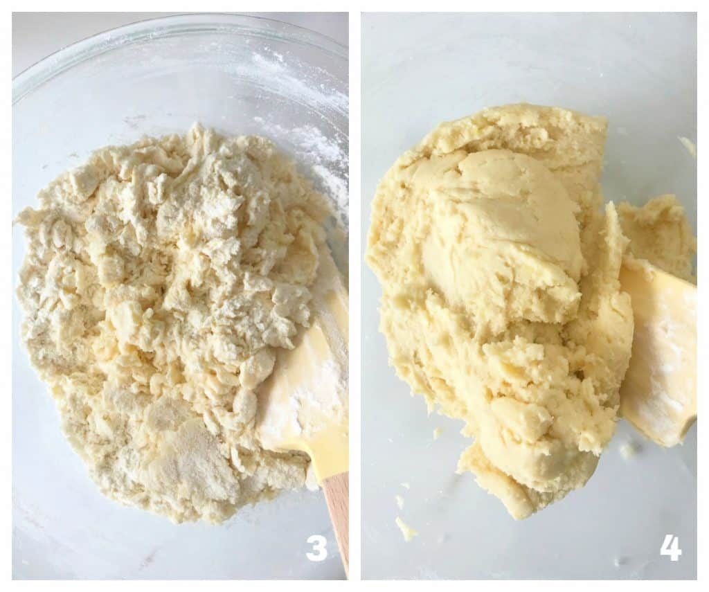 Image collage of lemon shortbread batter