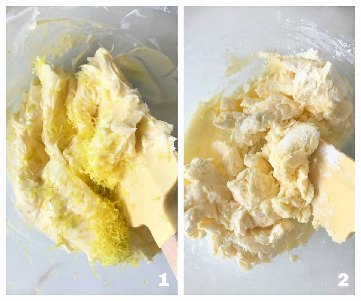 Image collage of lemon zest being mixed with butter, a yellow spatula