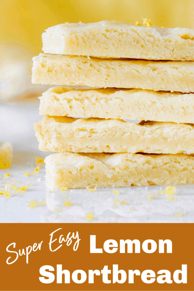 Lemon shortbread stack, image with text