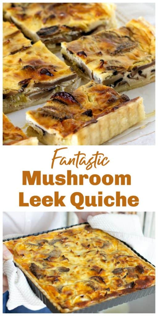 Mushroom quiche squares long pin with text