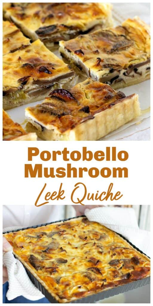Mushroom quiche squares pin with text