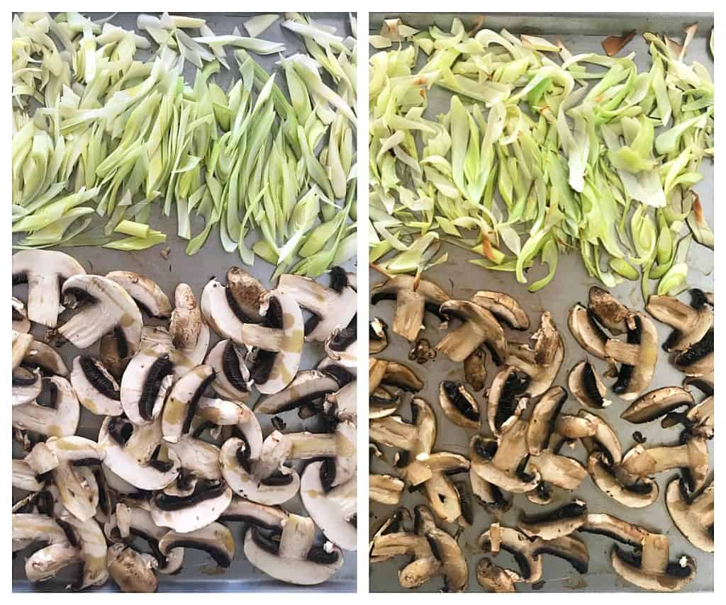 Raw and baked mushrooms and leeks, image collage