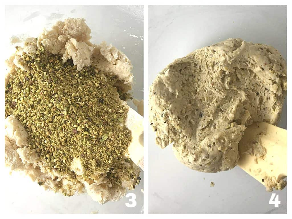 Process image collage of pistachio cookie batter