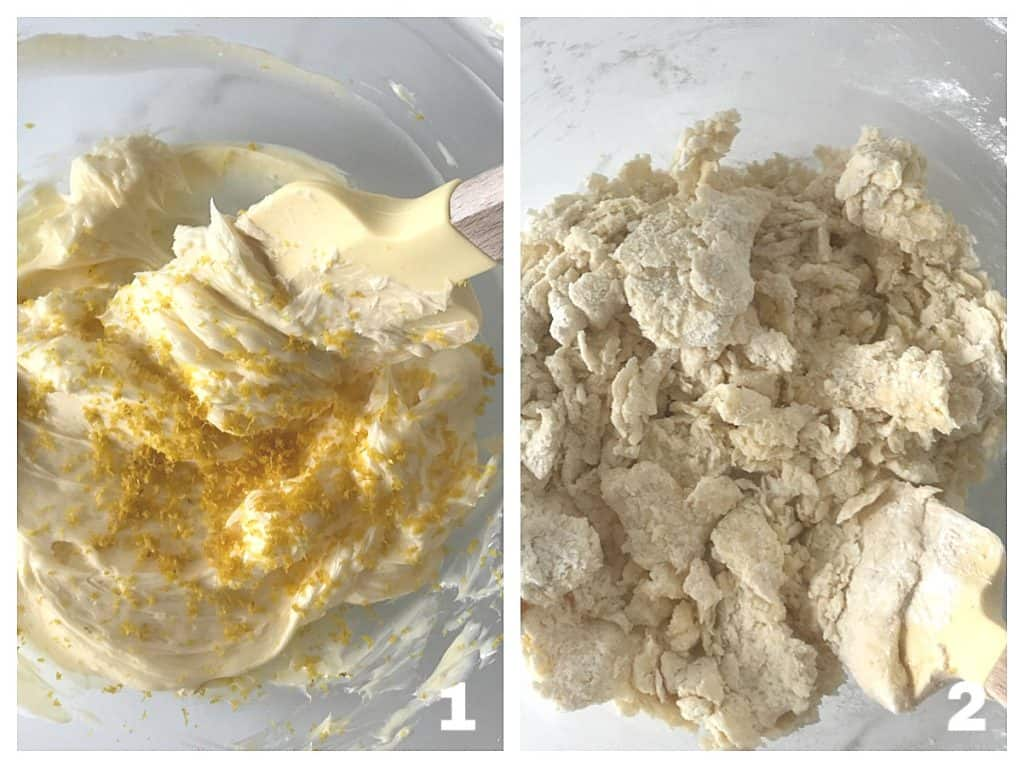 Process image collage of cookie batter